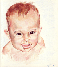 Colored pencil drawing entitled Me at 10 Months