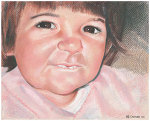 Colored pencil portrait entitled Clara at 18 Months