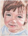 Colored pencil portrait entitled Clara at 17 Months