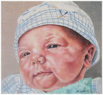 Colored pencil portrait entitled Emre, Newborn