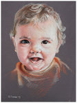 Colored pencil portrait entitled Emre at 8 Months.