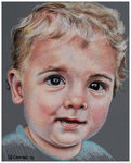 Colored Pencil portrait entitled Emre at 16 Months