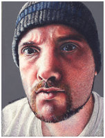 Colored pencil portrait entitled Self Portrait IX