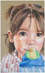 Colored pencil portrait entitled Thirsty