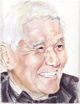 Colored Pencil portrait of an older gentleman in a tuxedo.
